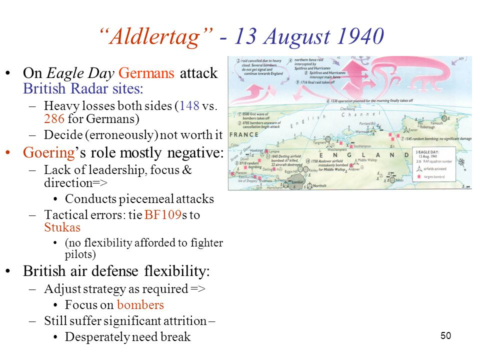 Aldlertag - 13 August 1940 On Eagle Day Germans attack British Radar sites: Heavy losses both sides (148 vs. 286 for Germans)