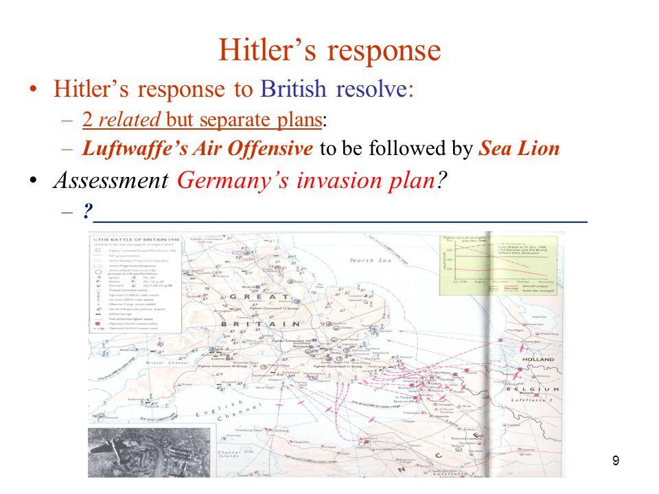 Hitler's response Hitler's response to British resolve: