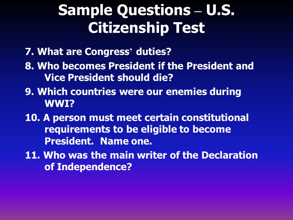 Sample Questions – U.S. Citizenship Test