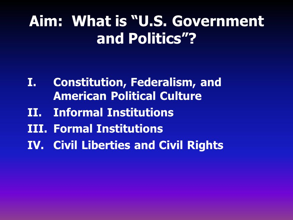 Aim: What is U.S. Government and Politics