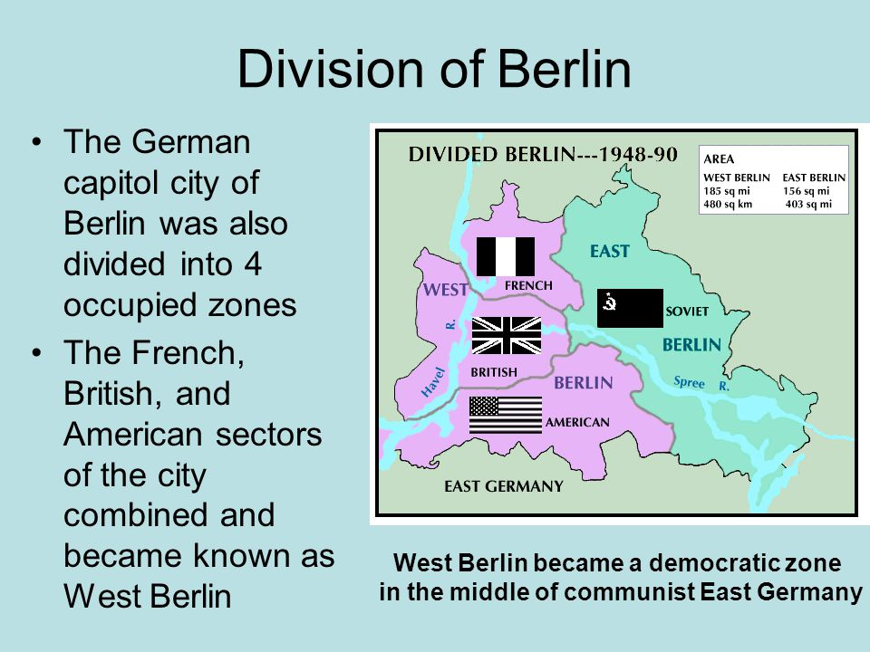 Division of Berlin The German capitol city of Berlin was also divided into 4 occupied zones.