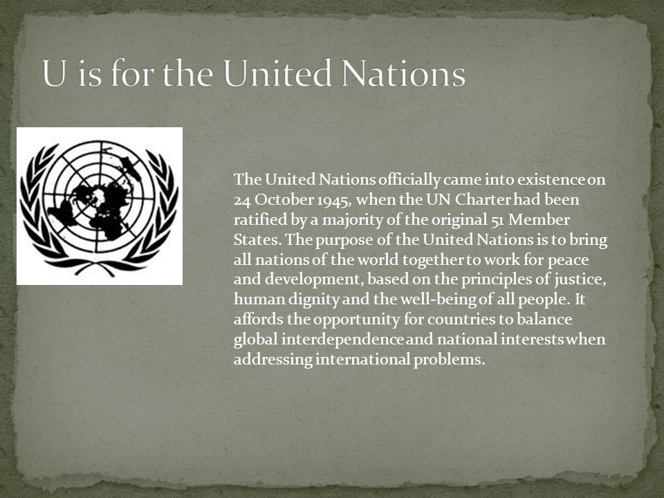 U is for the United Nations