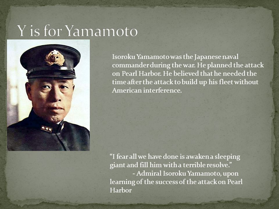 Y is for Yamamoto