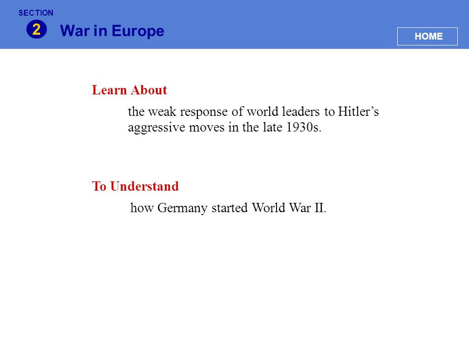 2 War in Europe Learn About