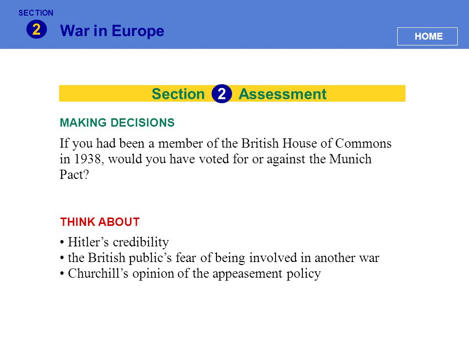 2 War in Europe 2 Section Assessment