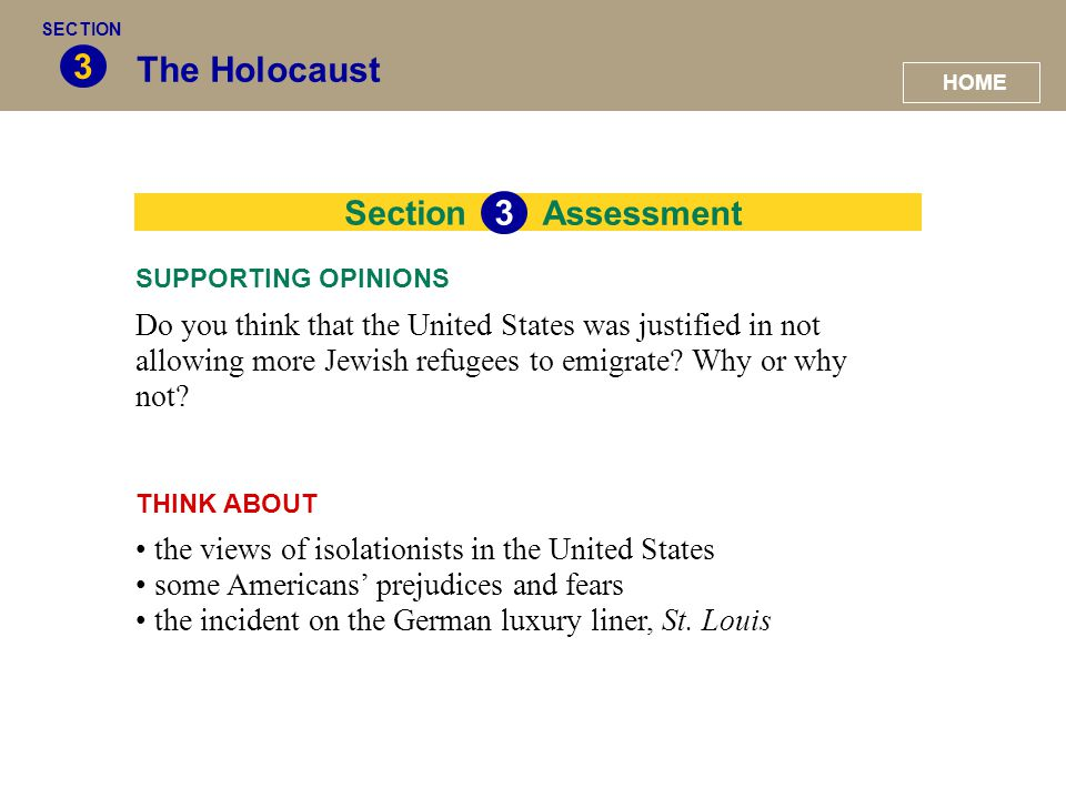 3 The Holocaust 33 Section Assessment