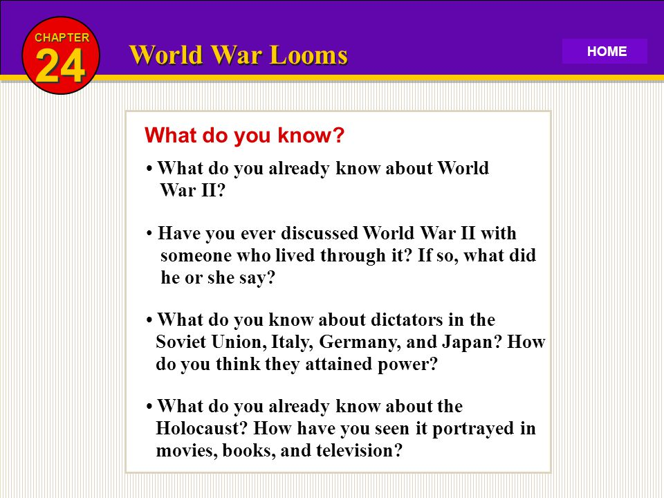 24 World War Looms What do you know