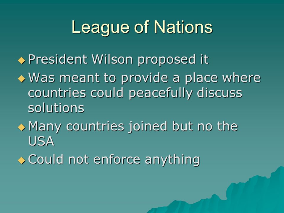 League of Nations President Wilson proposed it