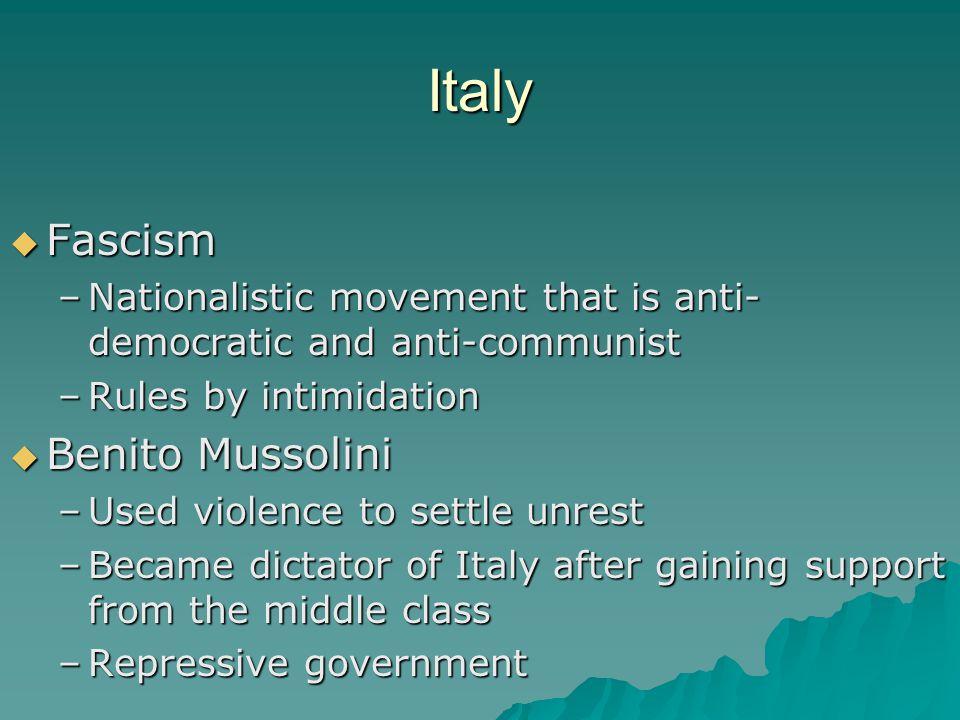 Italy Fascism Benito Mussolini