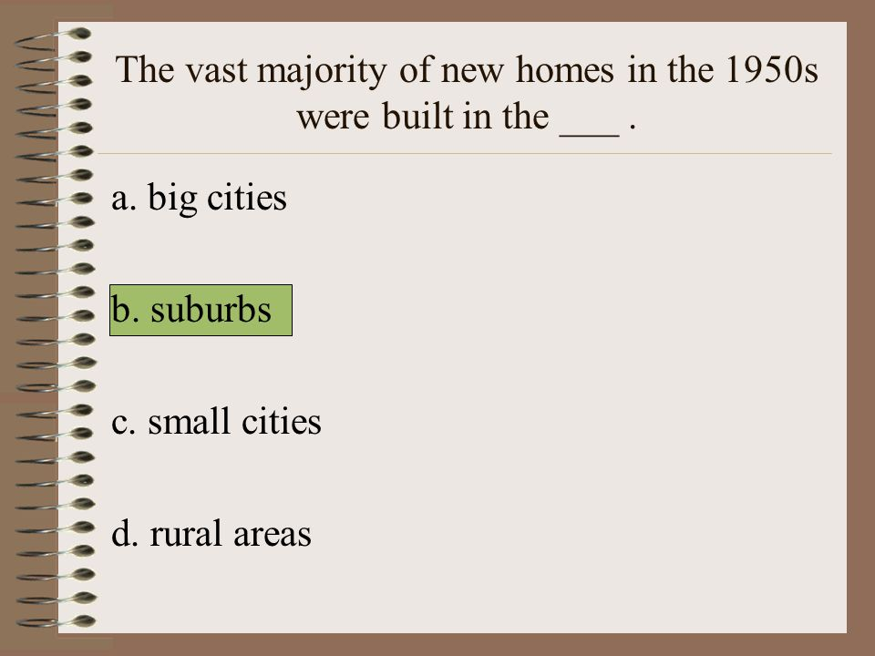 The vast majority of new homes in the 1950s were built in the ___ .
