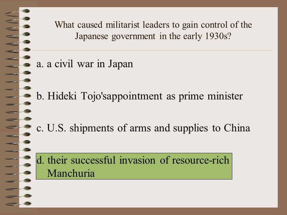 b. Hideki Tojo sappointment as prime minister