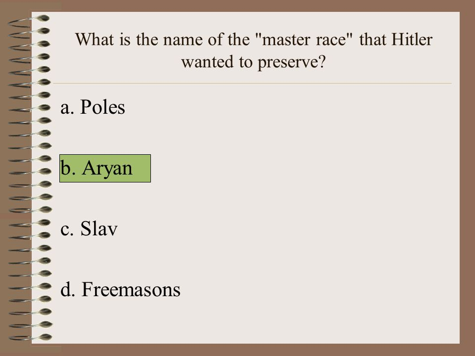 What is the name of the master race that Hitler wanted to preserve
