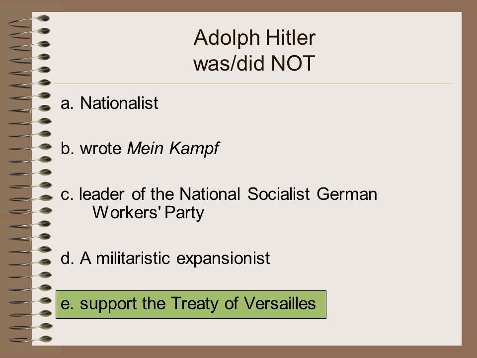 Adolph Hitler was/did NOT