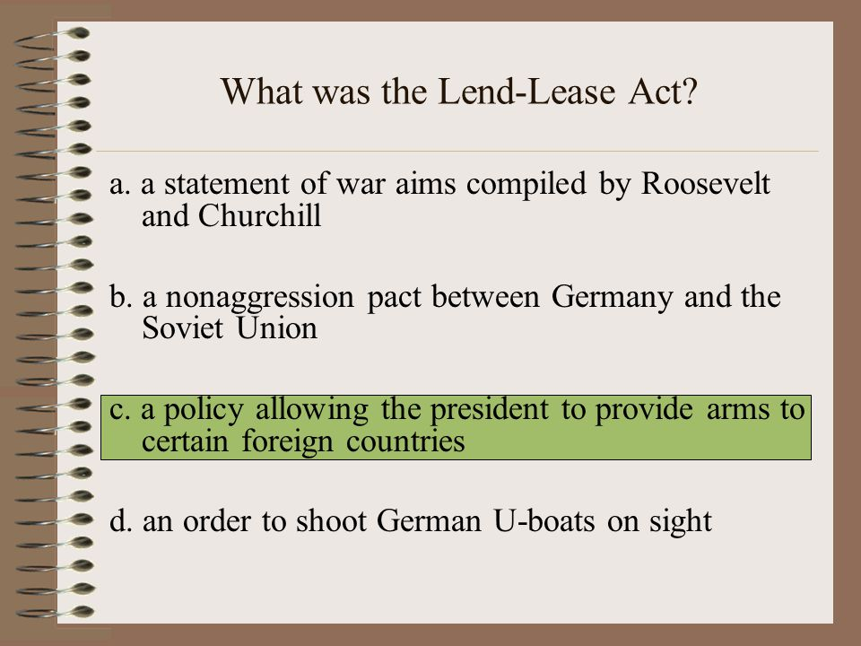 What was the Lend-Lease Act