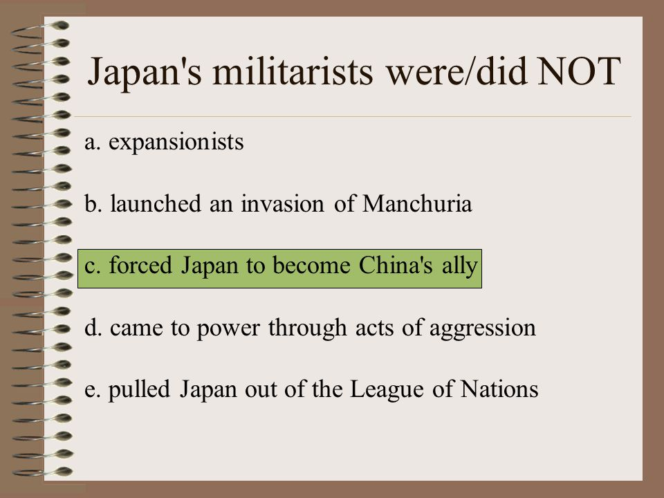 Japan s militarists were/did NOT