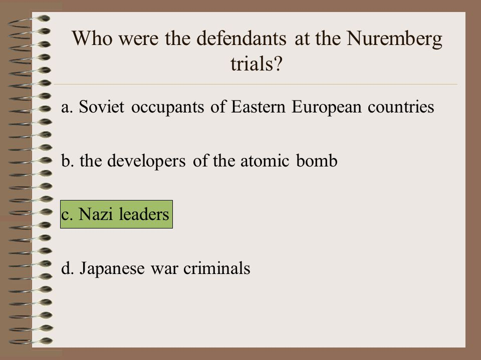 Who were the defendants at the Nuremberg trials