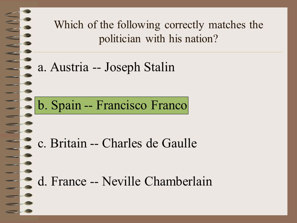 a. Austria -- Joseph Stalin b. Spain -- Francisco Franco
