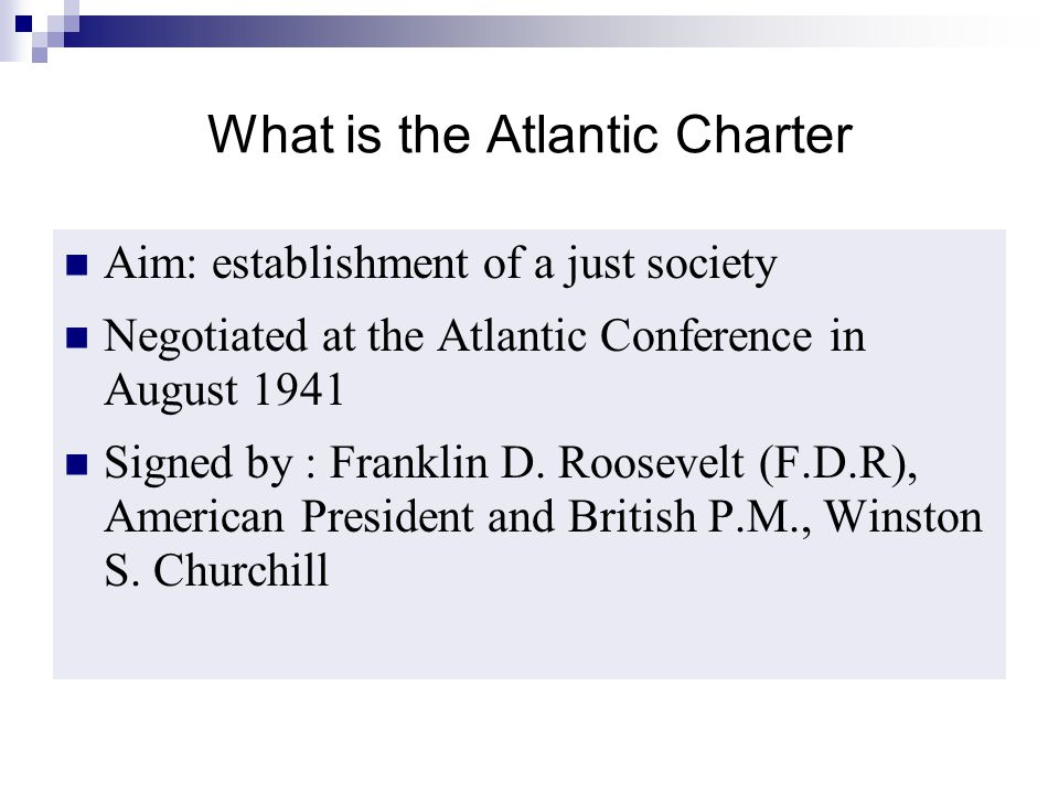What is the Atlantic Charter