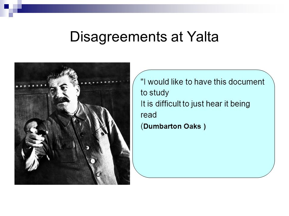Disagreements at Yalta