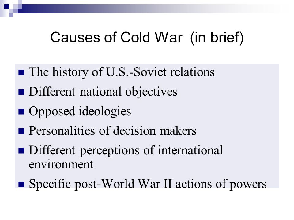 Causes of Cold War (in brief)