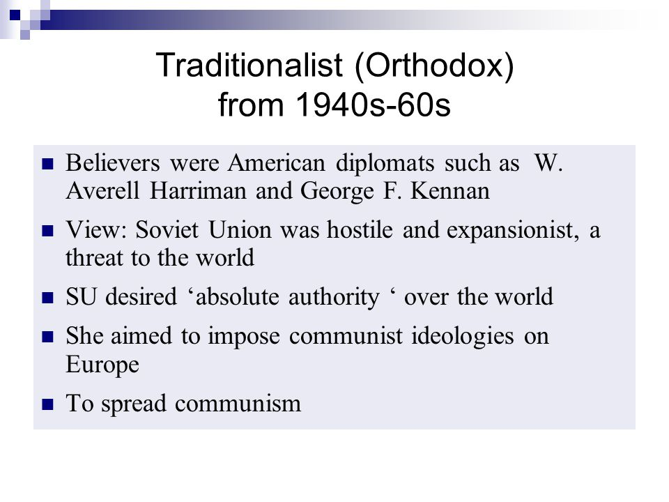 Traditionalist (Orthodox) from 1940s-60s