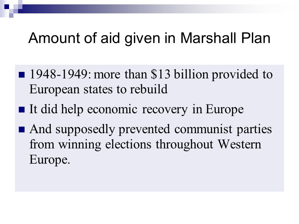 Amount of aid given in Marshall Plan