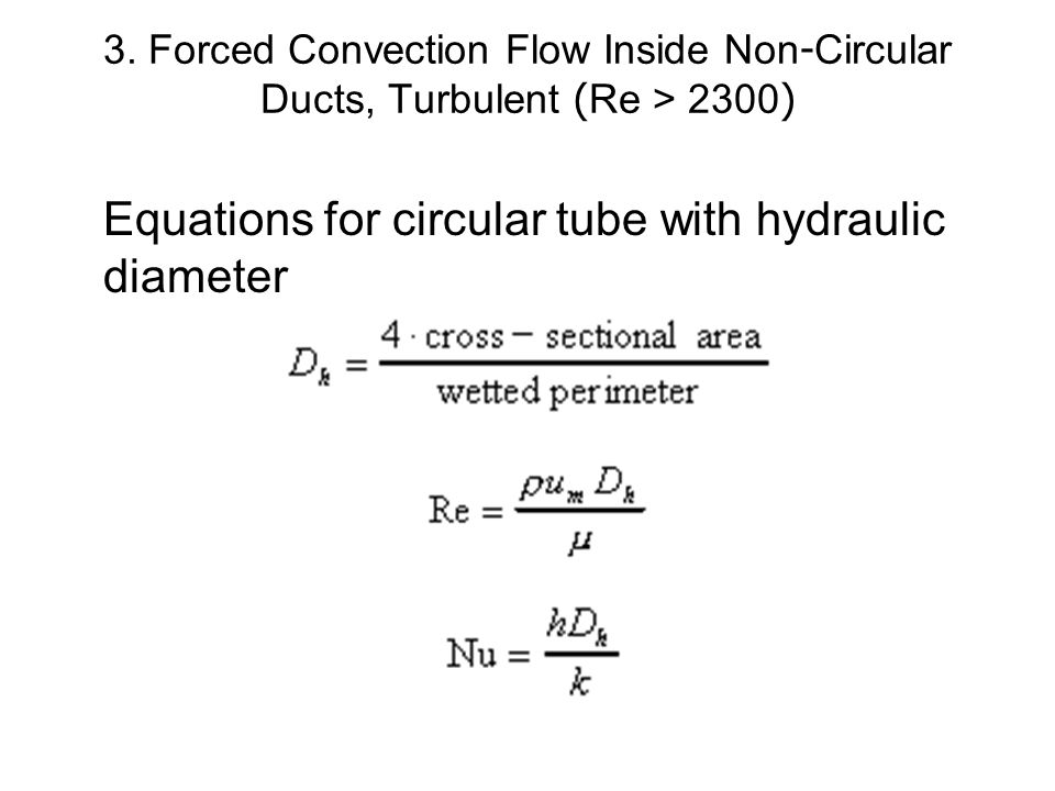 Equations for circular tube with hydraulic diameter