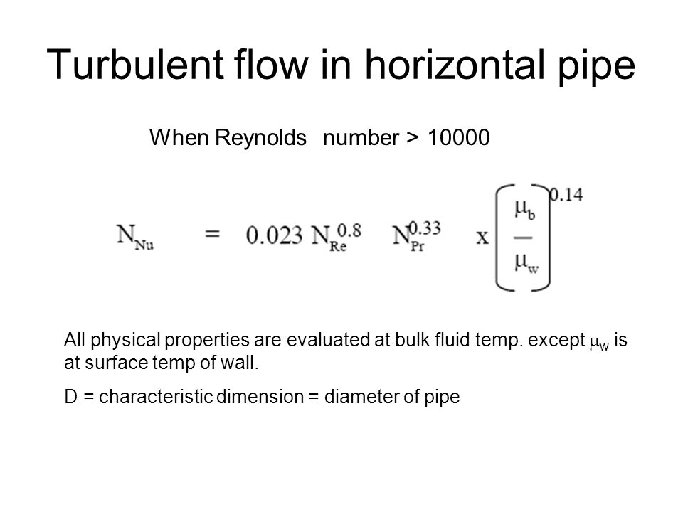 Turbulent flow in horizontal pipe