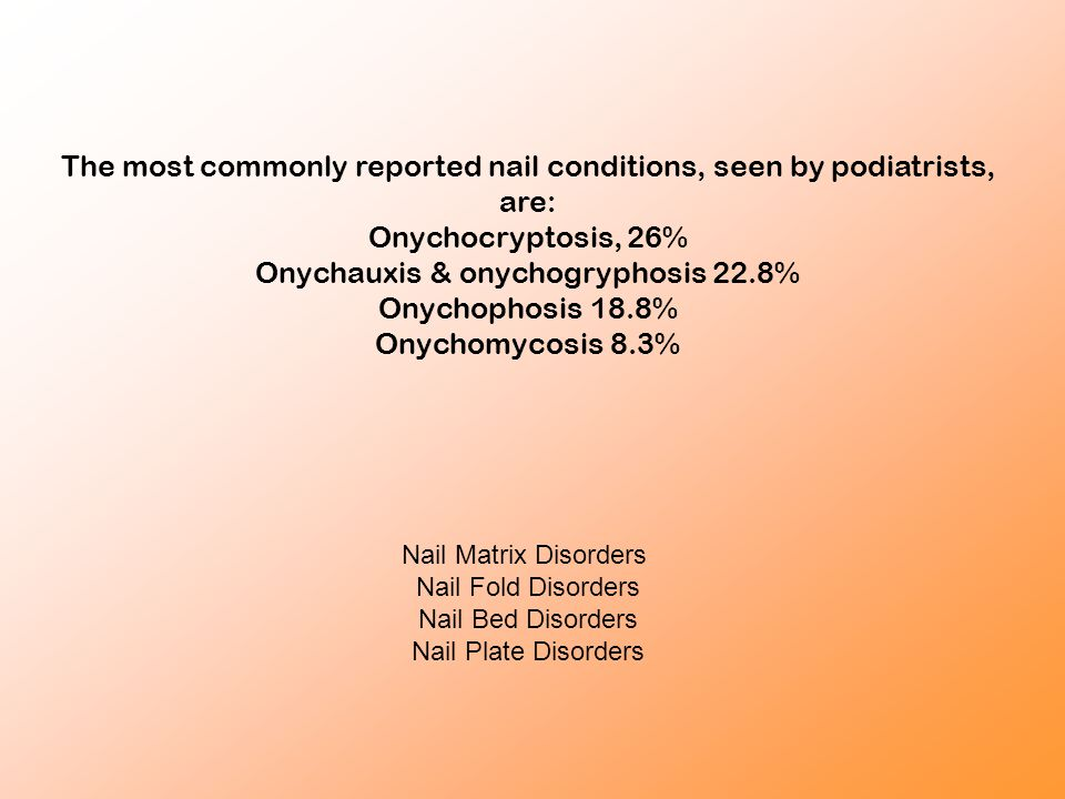 The most commonly reported nail conditions, seen by podiatrists, are: