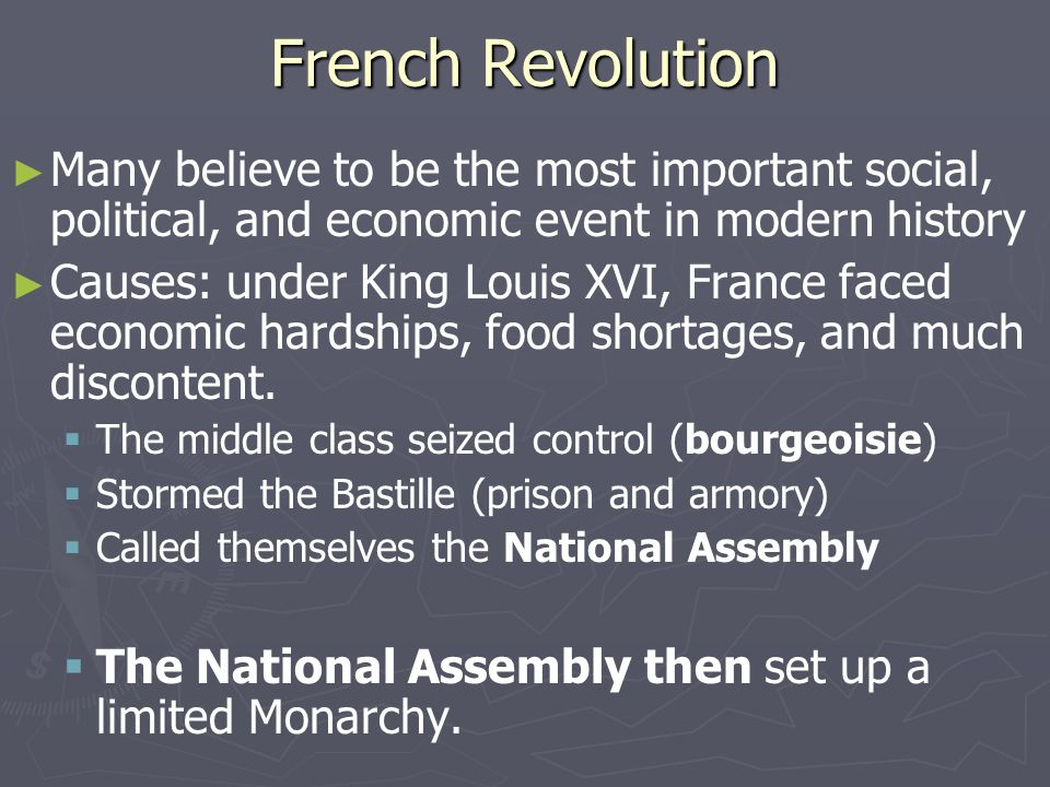 French Revolution Many believe to be the most important social, political, and economic event in modern history.