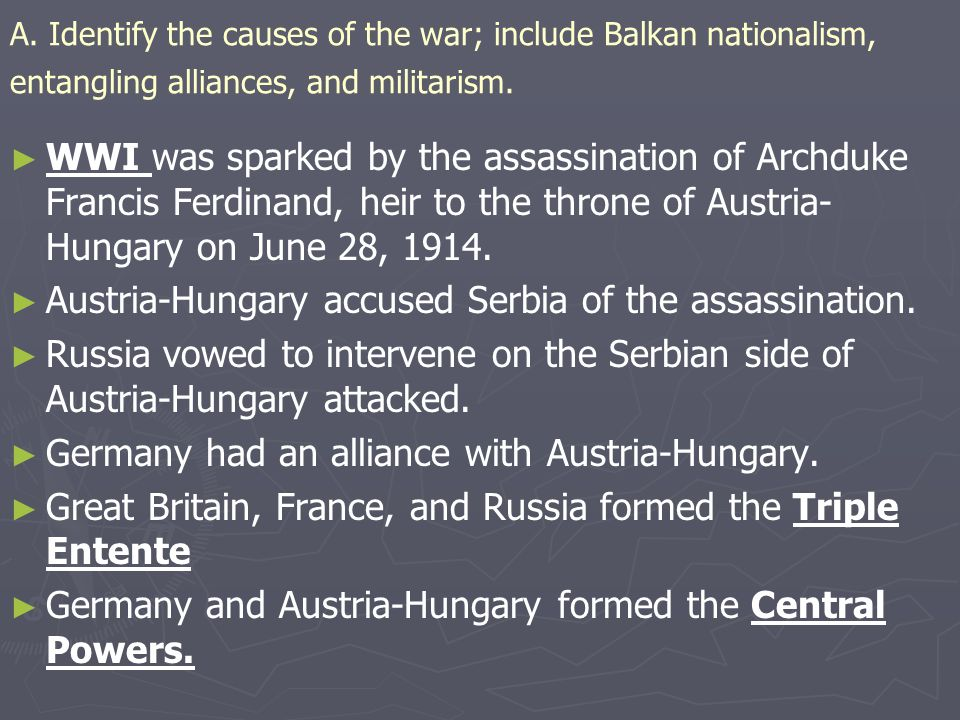 Austria-Hungary accused Serbia of the assassination.