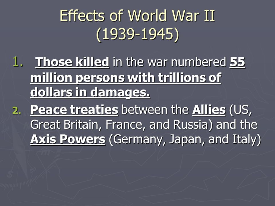 the effects of the world war ii on britain Listen to the audio of this post here: world war two began in september 1939 when britain and france declared war on germany following germany's invasion of poland although the outbreak of war was triggered by germany's invasion of poland, the causes of world war 2 are more complex in 1919 .