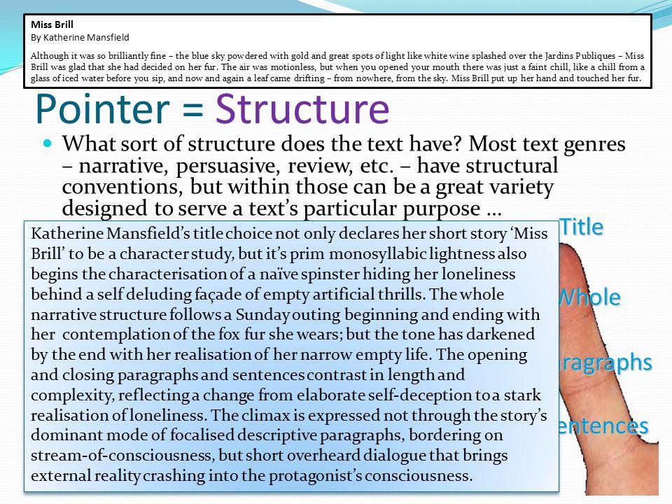 Pointer = Structure Title Whole Paragraphs Sentences