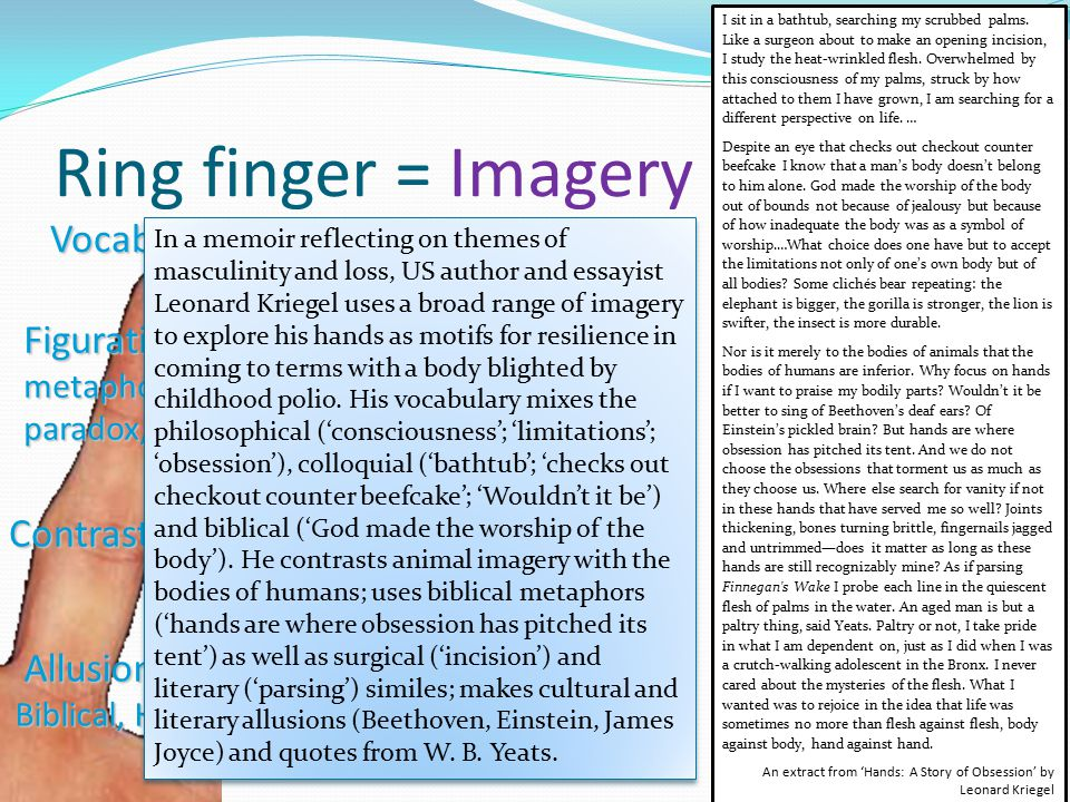 Ring finger = Imagery Vocabulary Figurative Language Contrasts