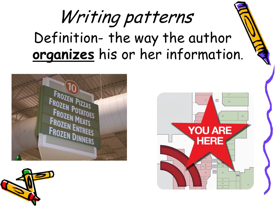 Definition- the way the author organizes his or her information.
