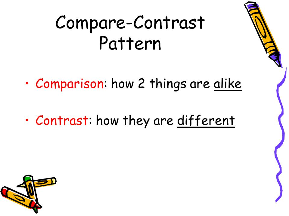 compare and contrast design patterns Organizational patterns for the comparison/contrast essay in a comparison/contrast essay, a writer must do the following: 1.