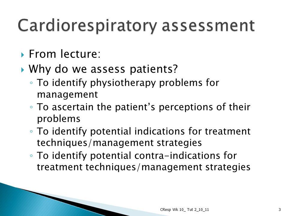 Cardiorespiratory assessment