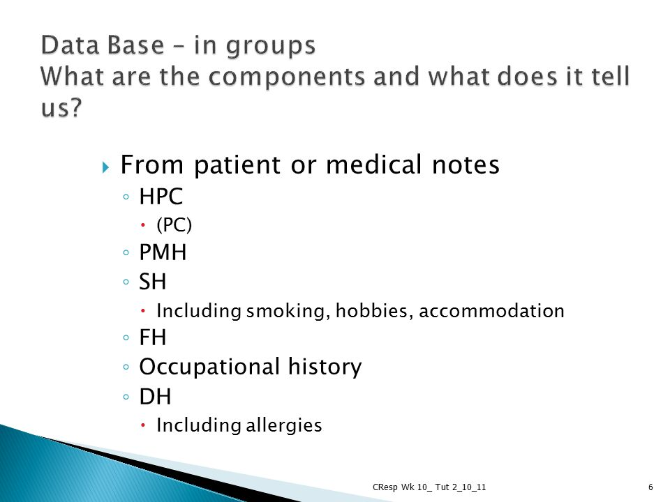 From patient or medical notes