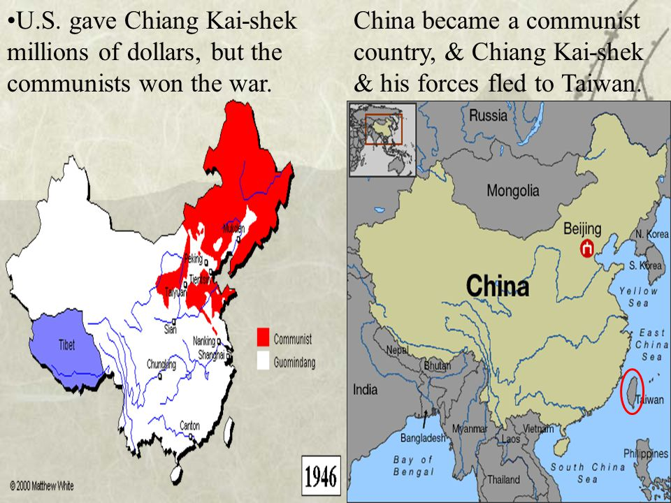 U.S. gave Chiang Kai-shek millions of dollars, but the communists won the war.