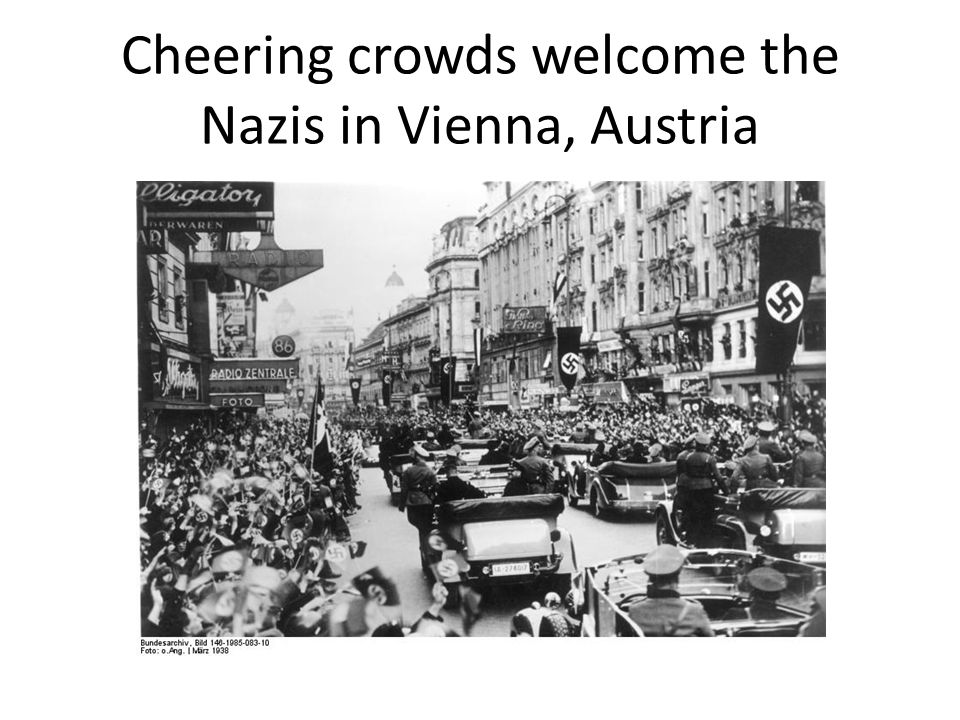 Cheering crowds welcome the Nazis in Vienna, Austria