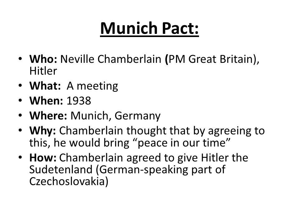Munich Pact: Who: Neville Chamberlain (PM Great Britain), Hitler