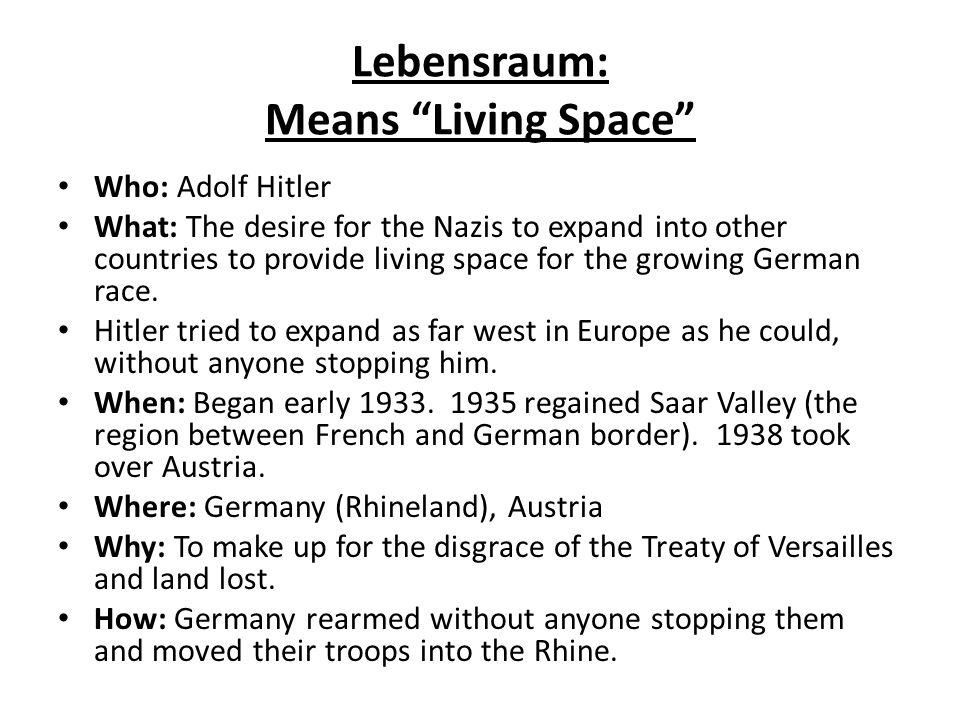 Lebensraum: Means Living Space