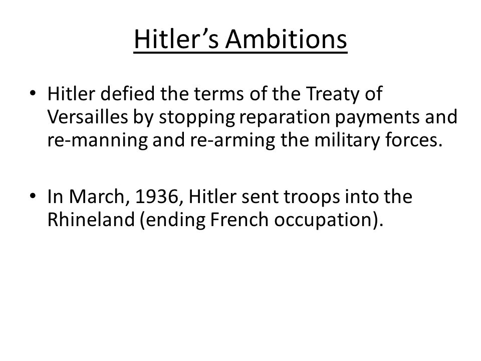 Hitler's Ambitions