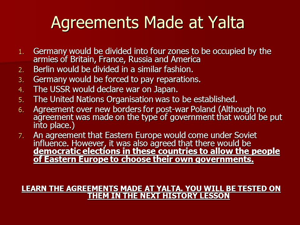 Agreements Made at Yalta