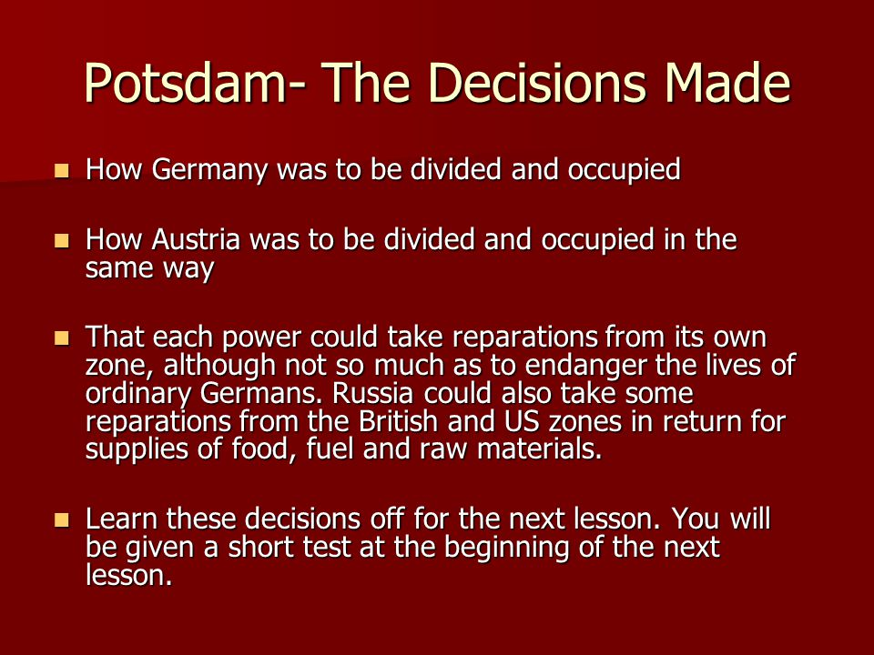 Potsdam- The Decisions Made