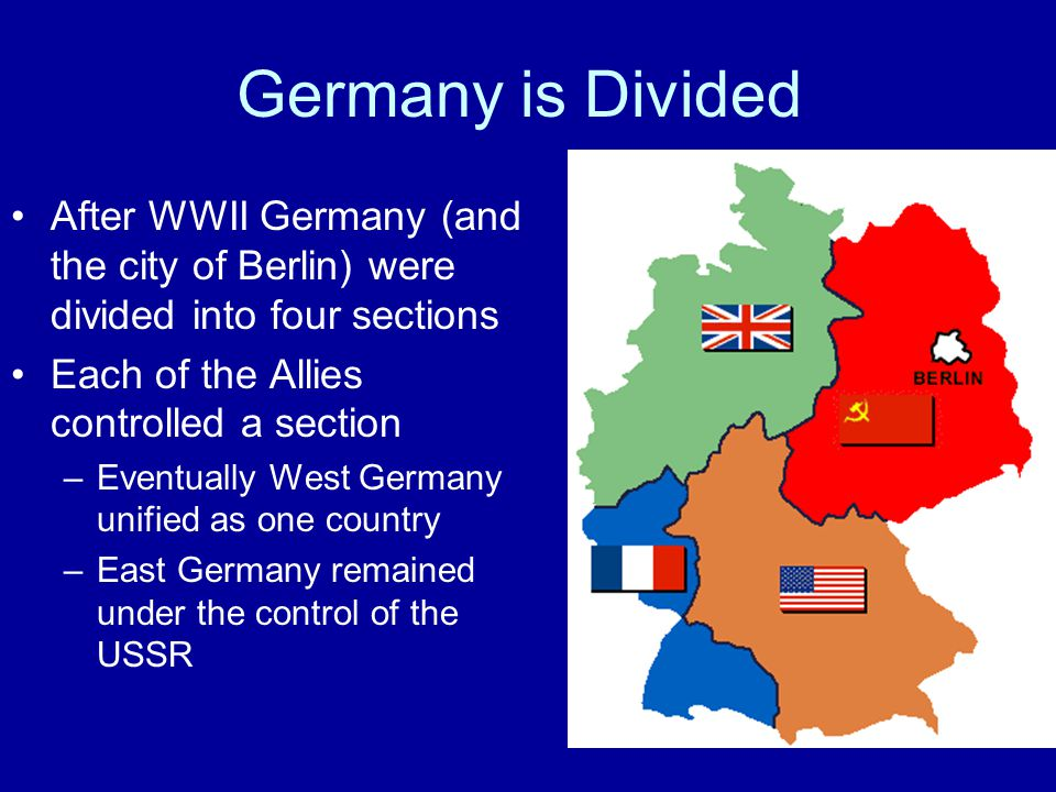 Germany is Divided After WWII Germany (and the city of Berlin) were divided into four sections. Each of the Allies controlled a section.