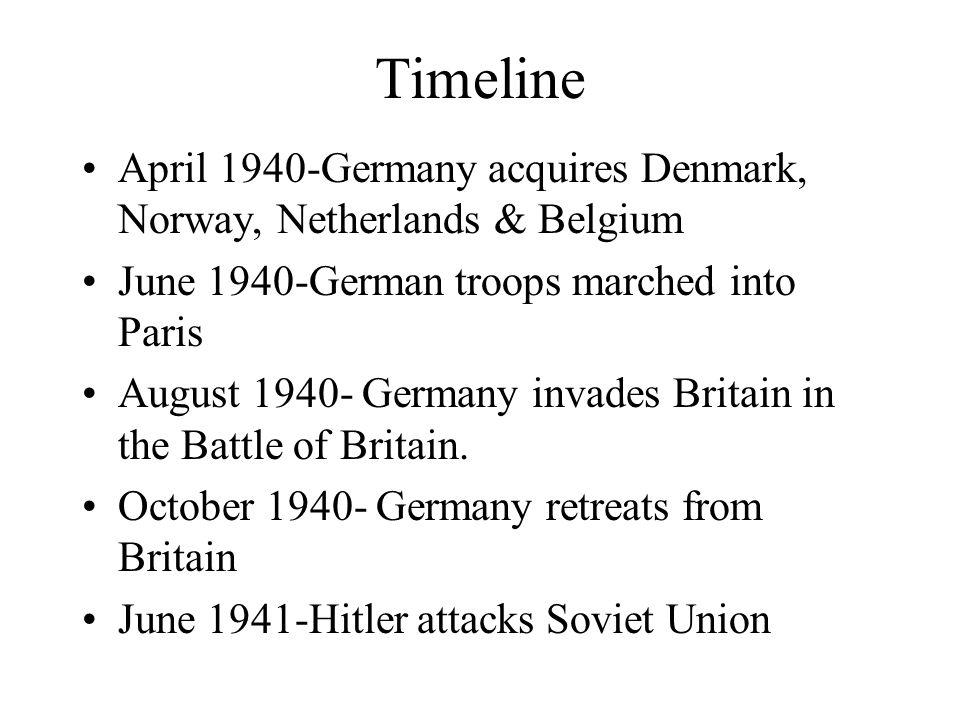 Timeline April 1940-Germany acquires Denmark, Norway, Netherlands & Belgium. June 1940-German troops marched into Paris.