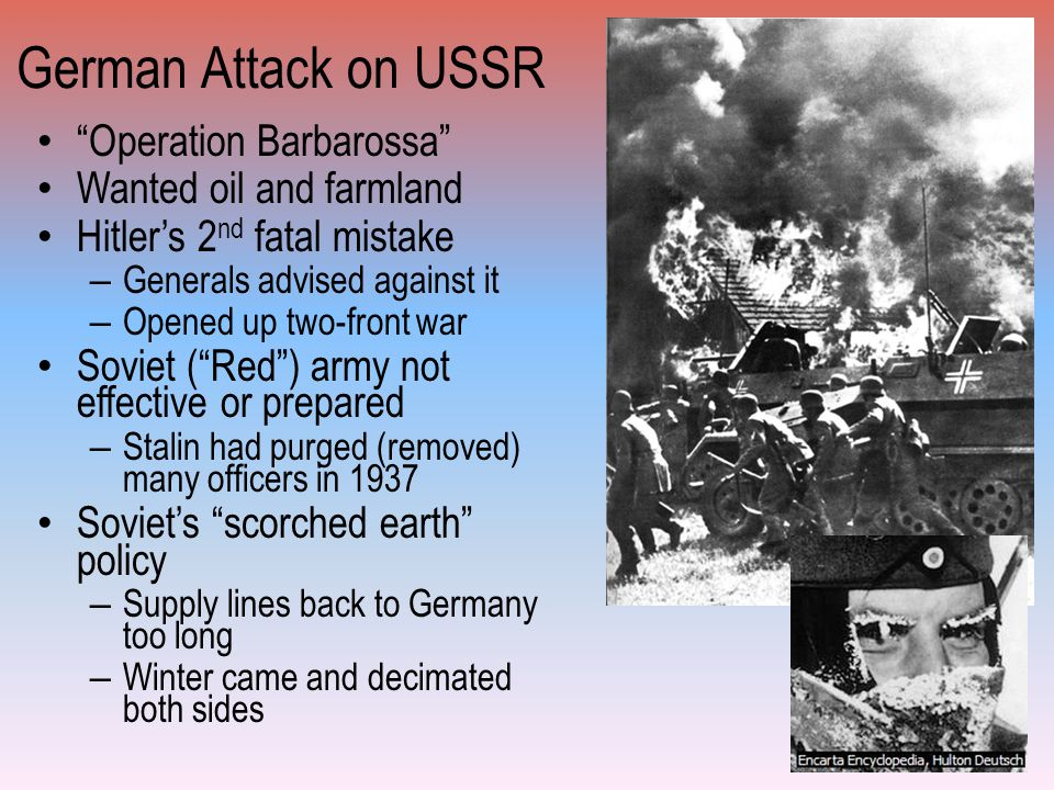 German Attack on USSR Operation Barbarossa Wanted oil and farmland