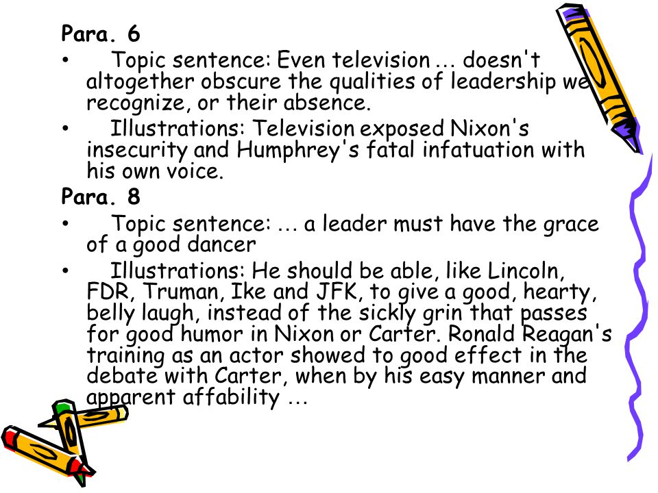 Para. 6 Topic sentence: Even television … doesn t altogether obscure the qualities of leadership we recognize, or their absence.