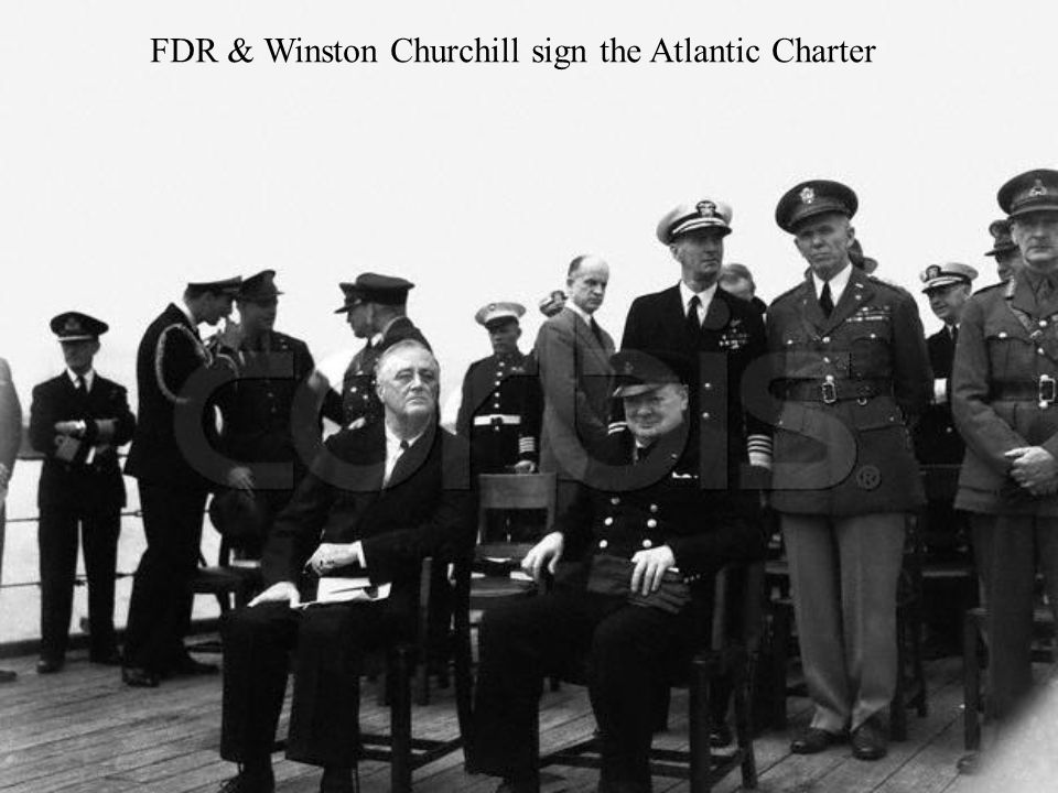 FDR & Winston Churchill sign the Atlantic Charter